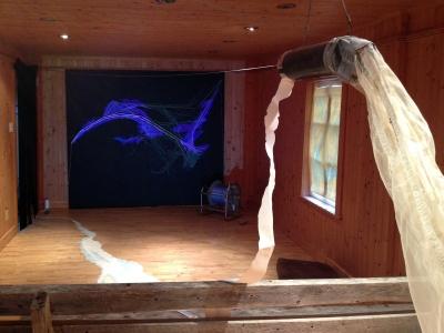 Salle 2: Murale de fils tendus, filet à zooplancton, cartes marines et vidéo. (Photo: Papillon-Bourgault)
