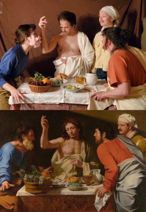 """(bas) """"Le Souper à Emmaüs"""" (circa 1620) de Bartolomeo Cavarozzi. (haut) Reproduction photo de Simone, Flavie, Patricia et Sylvain."""