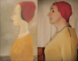 """(gauche) """"Portrait"""" (1961) de Jean-Paul Lemieux. (droite) Reproduction photo de Sylvain et Yves."""