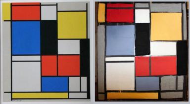 """(gauche) """"Tableau no. II avec rouge, bleu, noir, jaune et gris"""" (1921-1925) de Piet Mondrian. (droite) Reproduction avec divers tissus de Sylvain et Yves."""