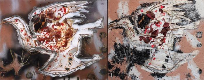 """(gauche) """"Sans titre"""" (1990) de Jean-Paul Riopelle. (droite) Reproduction avec cendre, terre, feuilles et brindilles de Sylvain et Yves."""