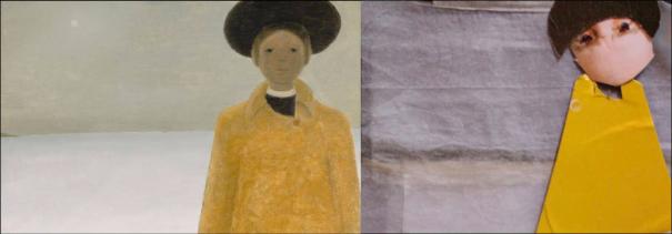 """(gauche) """"Julie et l'univers"""" (1965) de Jean-Paul Lemieux. (droite) Reproduction avec tissu et carton de Sylvain et Yves."""
